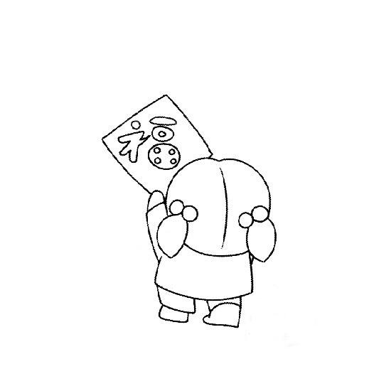 简笔画:贴福字的小女孩