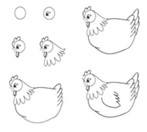 简笔画:小母鸡教案课件下载-简笔画-幼儿园手工技能