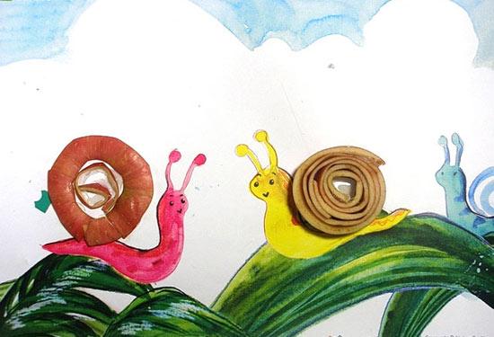 幼儿手工作品叶子动物