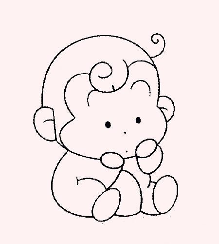 超萌可爱猴子手绘