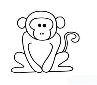 猴子拜年 简笔画大全
